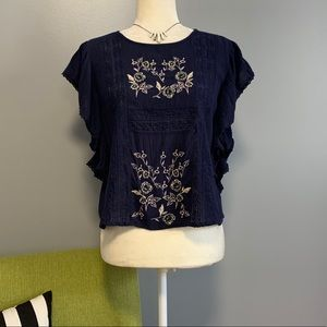 American Eagle Navy Embroidered Ruffle Top NWT